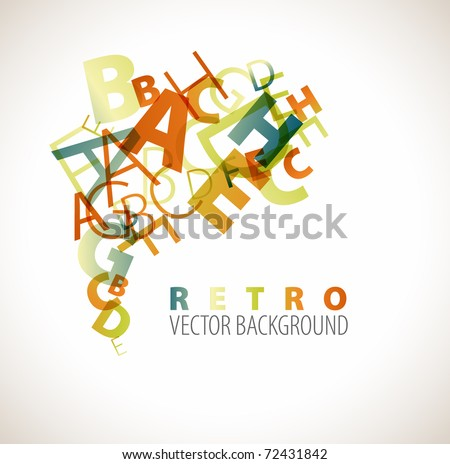 Abstract background with retro colored letters - stock vector