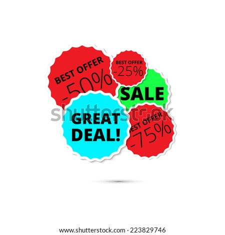 Abstract background with sale, great deal, best offer, discount stickers and badges with shadow. - stock vector