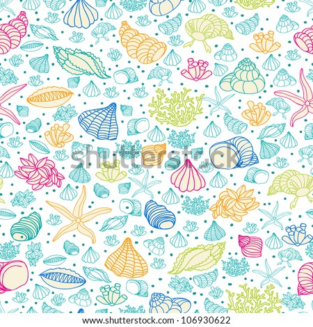 Abstract background with seashells, starfish and algae. Concept of seaside, resort, vacation, diving. Texture for print, wallpaper, textile, cover. - stock vector
