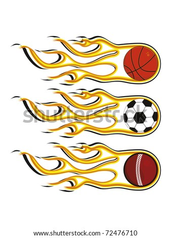 abstract background with set of three fiery sports balls, vector illustration - stock vector