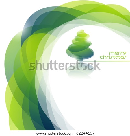 Abstract background with shiny christmas tree. Vector illustration. - stock vector