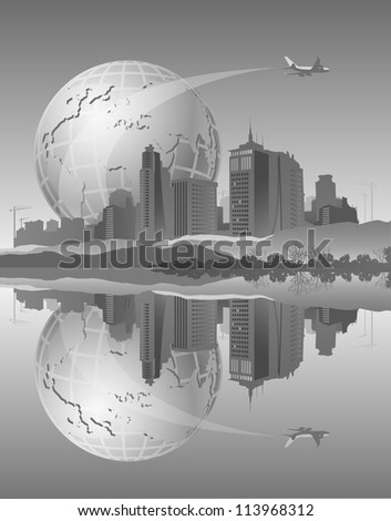 Abstract background with silhouette of city and earth