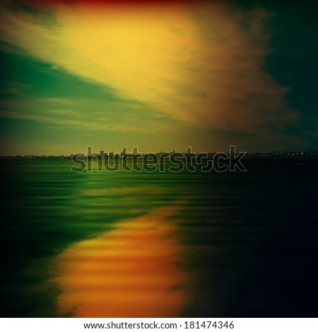 abstract background with silhouette of city and green sunset - stock vector