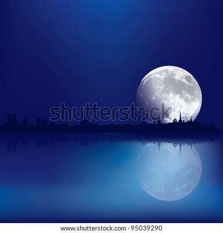 abstract background with silhouette of Tallinn and moon - stock vector