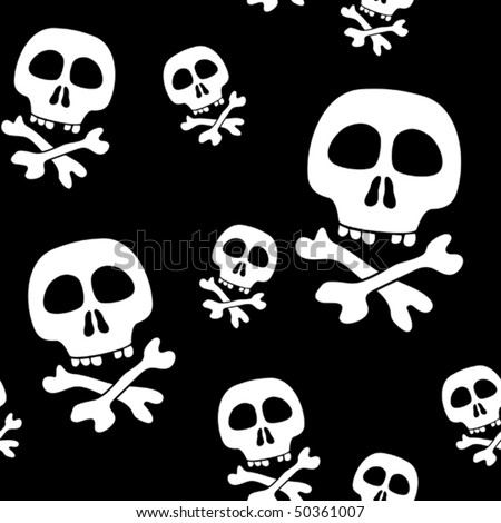 Abstract background with skulls. Seamless pattern. Vector illustration.