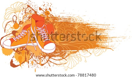 Abstract background with sneakers  and flowers. - stock vector
