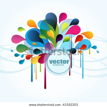 Abstract background with splash and place for your text, vector - stock vector