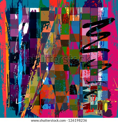 abstract background, with squares, paint strokes and splashes - stock vector