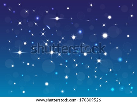 Abstract background with stars, bokeh and  ligth effect. - stock vector