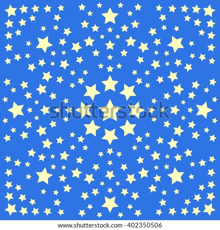 Abstract background with stars isolated on stylish blue cover for use in design. Yellow stars. Symmetry stars background. Good night stars theme. Childish wallpaper star background. - stock vector