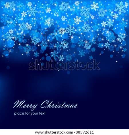 Abstract background, with stars, snowflakes and blurry lights, illustration - stock vector