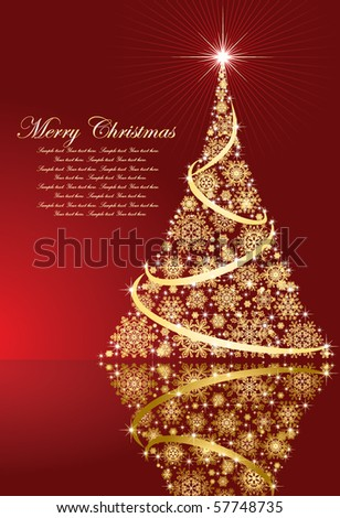 Abstract background, with stars, snowflakes and Christmas tree, illustration