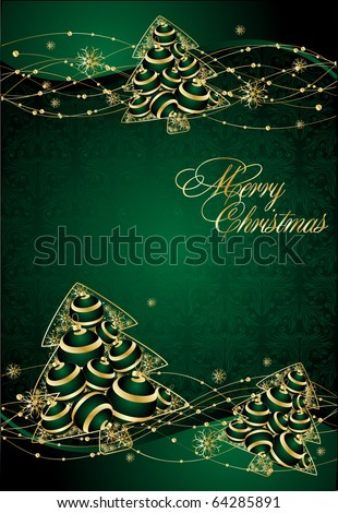 abstract background with stylized xmas tree - stock vector