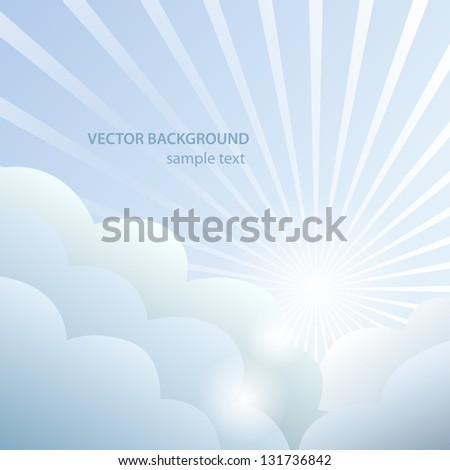 Abstract background with sun and clouds. Vector illustration - stock vector