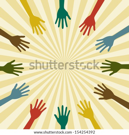 Abstract background with sun and hands. Vector illustration - stock vector