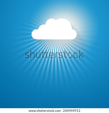 abstract background with sun rays and cloud
