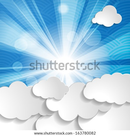 Abstract background with sun, rays and clouds