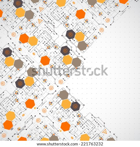 Abstract background with technological elements.  - stock vector