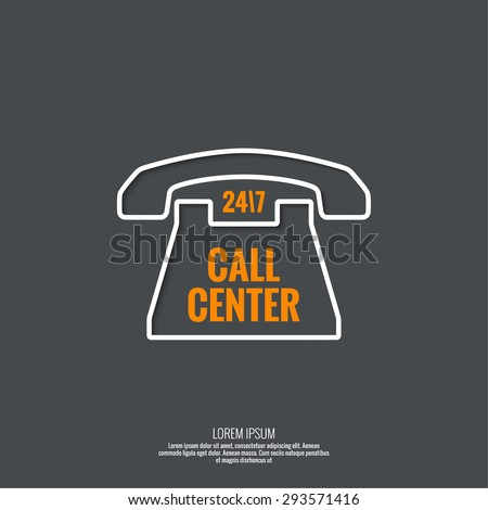 Abstract background with telephone and handset. Icon. Call technical support. 24, 7. helpline, support service. Contacts. vector. Flat design with shadow. minimal, outline, pictogram  - stock vector