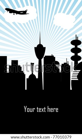 Abstract background with the building silhouettes of a metropolis and a plane flying away to another destination - stock vector
