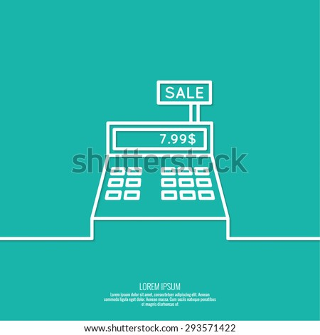 Abstract background with the cash register. Pictogram icon. minimal, outline.