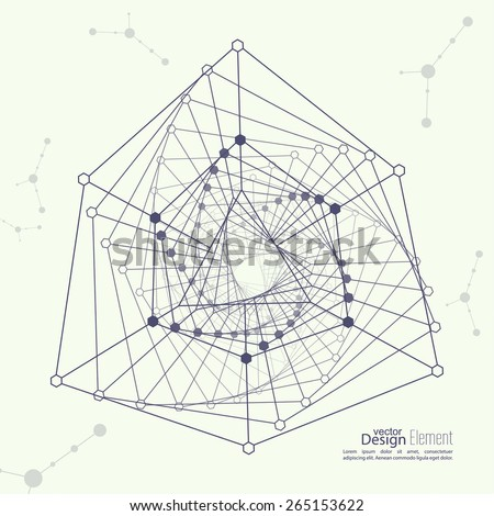 Abstract background with the geometric figure, points and lines,  molecule structure. genetic and chemical compounds
