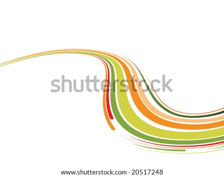Abstract background with the green and orange bent lines. Vector illustration - stock vector