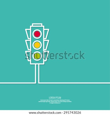 Abstract background with traffic lights. Red, green, yellow light. vector icons. Outline. minimal.  - stock vector