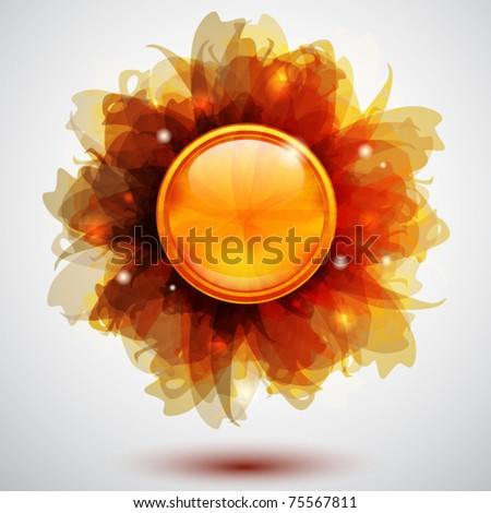 Abstract background with transparent flowers and button - stock vector