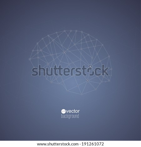 Abstract  Background with transparent Mesh and glowing lines, circles and shapes. Techno design. vector. Connections in the brain - stock vector