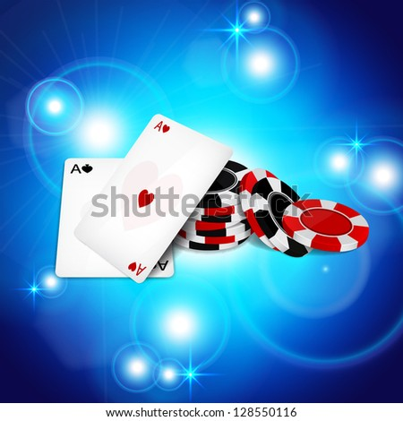 Abstract background with two aces and poker chips. EPS10 vector - stock vector