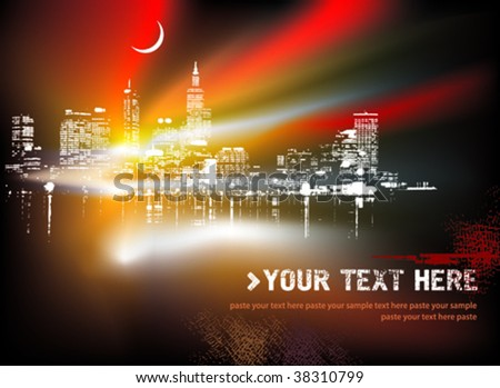 Abstract background with urban skyline. Vector illustration. - stock vector
