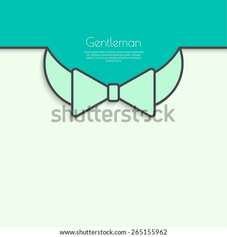 Abstract background with vector bow tie. Green, turquoise. For invitations to the celebration, birthday, birthday card, wedding. - stock vector