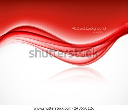 Abstract background with wave in red color - stock vector