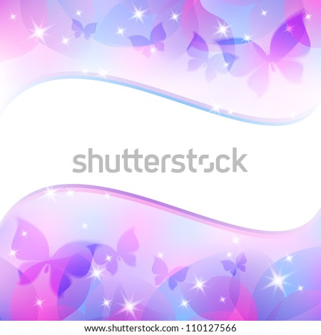 abstract background with wave shape and butterflies - stock vector