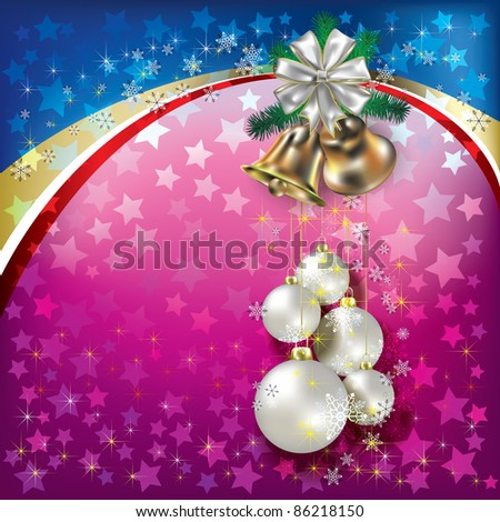 Abstract background with white Christmas decorations and bells - stock vector