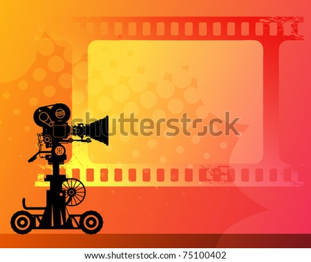 Abstract background with white frame and movie camera, vector illustration - stock vector