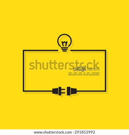 Abstract background with wire plug and socket. Concept connection, connection, disconnection, electricity. Flat design. Including the idea. The thought process - stock vector