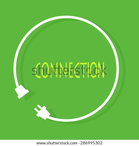 Abstract background with wire plug and socket. Concept connection,disconnection, electricity. Speech Bubble. - stock vector