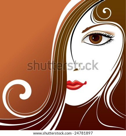 abstract background with woman portrait - stock vector