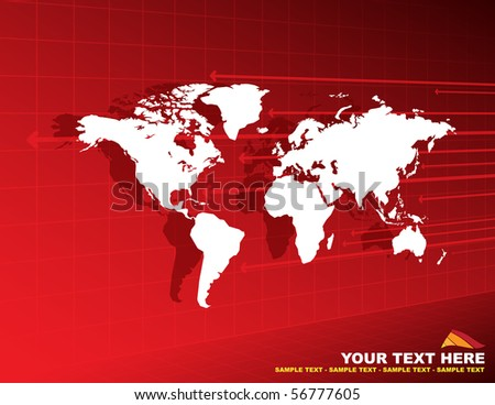 Abstract background with world map and arrows - stock vector