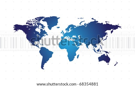 Abstract background with world map and place for your text - stock vector