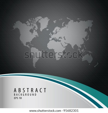 Abstract background with world map, vector illustration - stock vector