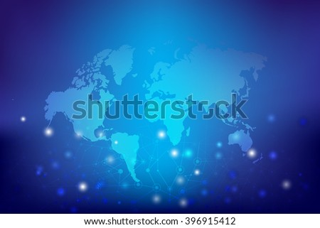 Abstract background world map and connection concept vector illustration eps10