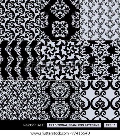 Abstract backgrounds set, damask ornaments, monochrome seamless patterns, vector wallpapers, floral fashion fabrics and arabesque wrappings with graphic elements, flowers and leafs for design