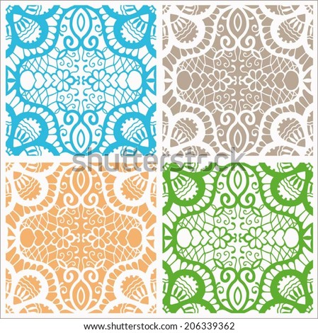 Abstract backgrounds set, ethnic floral and geometric ornament, seamless texture, detailed lace pattern, hand drawn artwork