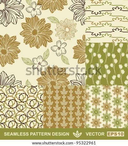 Abstract Backgrounds Set Flower Vector Wallpapers Retro Seamless Patterns Fabrics And Wrappings With