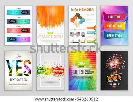 Abstract Backgrounds Set. Geometric Shapes and Frames for Presentation, Annual Reports, Flyers, Brochures, Leaflets, Posters, Business Cards and Document Cover Pages Design. A4 Title Sheet Template