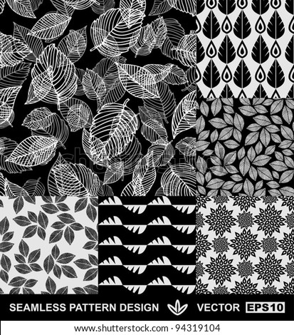 Abstract backgrounds set, monochrome vector wallpapers, black and white seamless patterns, fabrics and wrappings with graphic flowers, leafs, and geometric damask ornaments -summer, spring and autumn - stock vector