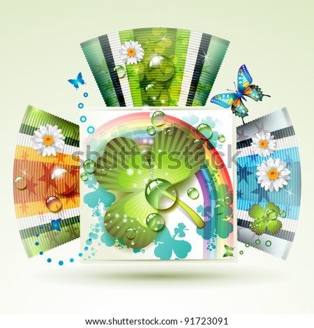 Abstract backgrounds with clover and butterflies